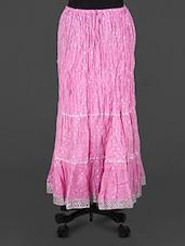 Pink Lace Border Long Skirt - Rangsthali
