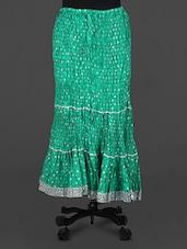 Green Lace Border Long Skirt - Rangsthali