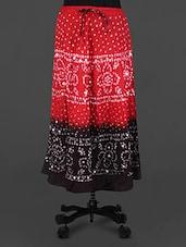 Red & Black Bandhani Print Cotton Skirt - Rangsthali