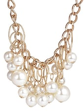 White Pearl Metallic Necklace - By