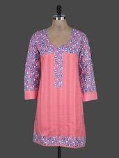 Printed Quarter Sleeves Cotton Kurta - Nikunj
