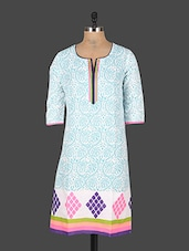 Printed Quarter Sleeves Cotton Kurta - Rajasthan Fashions