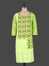 Quarter Sleeves Block Printed Cotton Kurta - Rajasthan Fashions