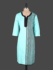 Quarter Sleeves Striped Cotton Kurta - Rajasthan Fashions