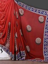Red Zari Work Poly Georgette Saree - Khushi