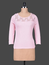 Lace Yoke Solid Pink Cotton Top - Sera