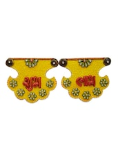 Yellow Embellished Shubh Labh Door Hanging - Artwork
