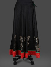 Black Rayon Block  Print Long Skirt - Inblue Fashions