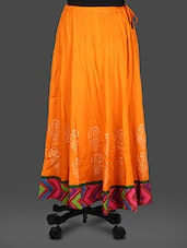 Orange Rayon Block  Print Long Skirt - Inblue Fashions