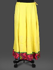 Yellow Rayon Block  Print Long Skirt - Inblue Fashions