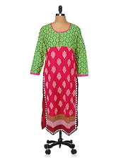Yellow Round Neck Printed Kurta - Desirang