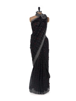 Black and Maroon Cotton Saree - Uppada