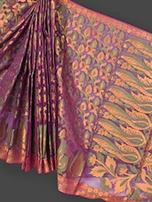 Magenta Jacquard Art Silk Saree - Prabha Creations