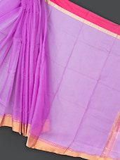 Purple Cotton And Art Silk Saree - Prabha Creations