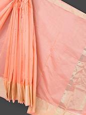 Peach Cotton Art Silk Saree - Prabha Creations