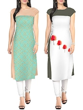 Multi faux crepe printed kurta set of 2 -  online shopping for kurtis