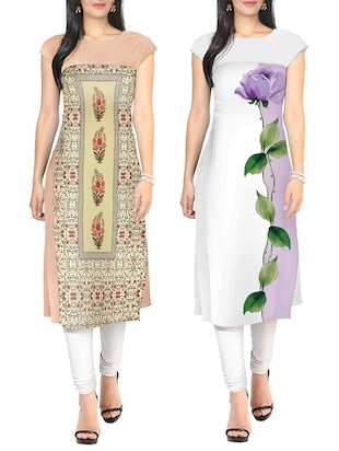 Multi faux crepe kurta set of 2 -  online shopping for kurtis
