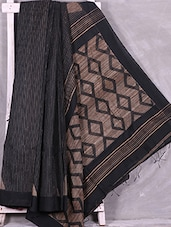 Black Kantha Embroidered Handloom Cotton Silk Saree - Ruplekha Fashion