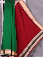 Contrast Red Pallu Green Cotton Silk Saree - Ruplekha Fashion