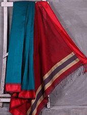 Blue Handloom Cotton Silk Saree With Red Pallu - Ruplekha Fashion