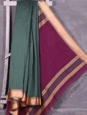 Green Handloom Cotton Silk Saree With Wine Pallu - Ruplekha Fashion