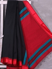 Contrast Red Pallu Black Cotton Silk Saree - Ruplekha Fashion