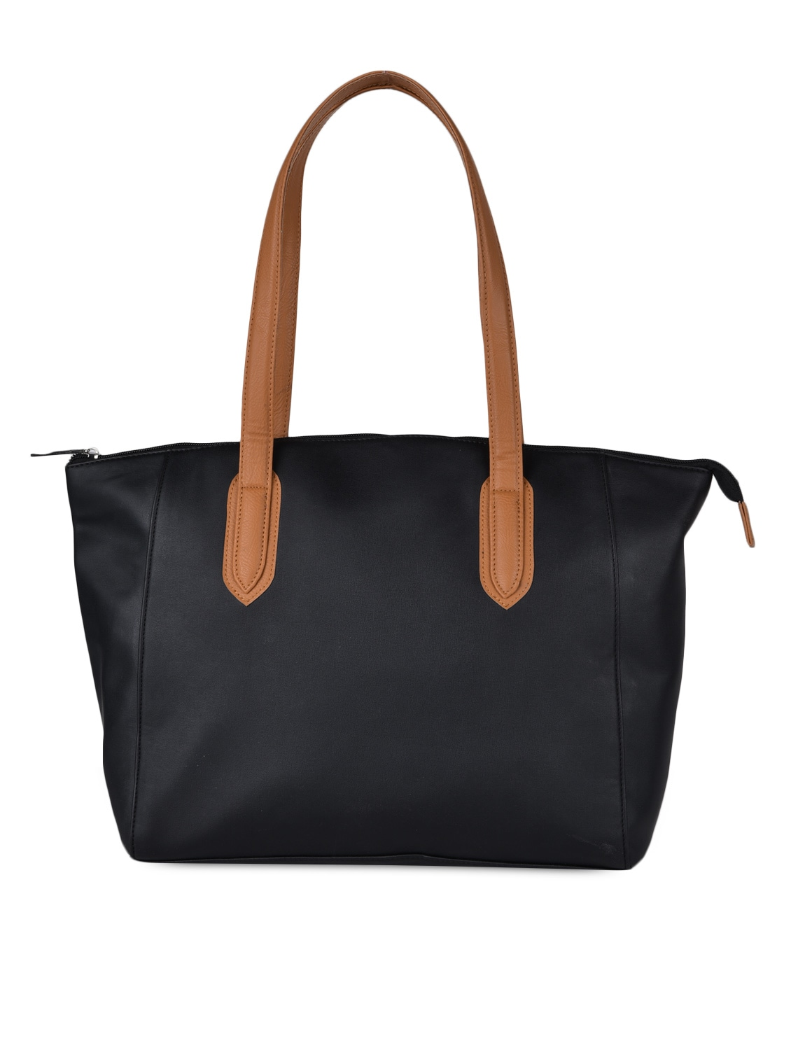Solid Black Leatherette Handbag - AVX