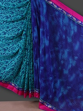 Sea Green And Blue Printed Georgette Saree - Rajtex Fabrics