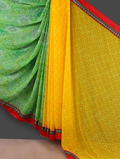 Green And Yellow Printed Georgette Saree - Rajtex Fabrics