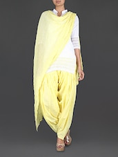 Lemon Yellow Cotton Patiala And Dupatta Set - Bhagwati Patialas