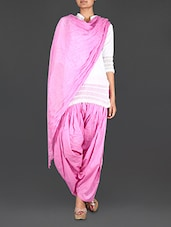 Pink Cotton Patiala And Dupatta Set - Bhagwati Patialas