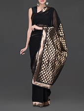 Black And Gold Georgette Saree - Designerz Hub