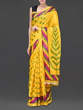 Yellow Polka Dots Printed Silk Saree - Designerz Hub