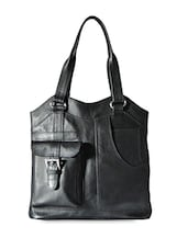Black Genuine Leather Handbag - Hibiscus