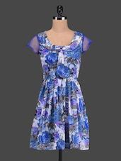 Blue Floral Print Poly Georgette Dress - The Vanca