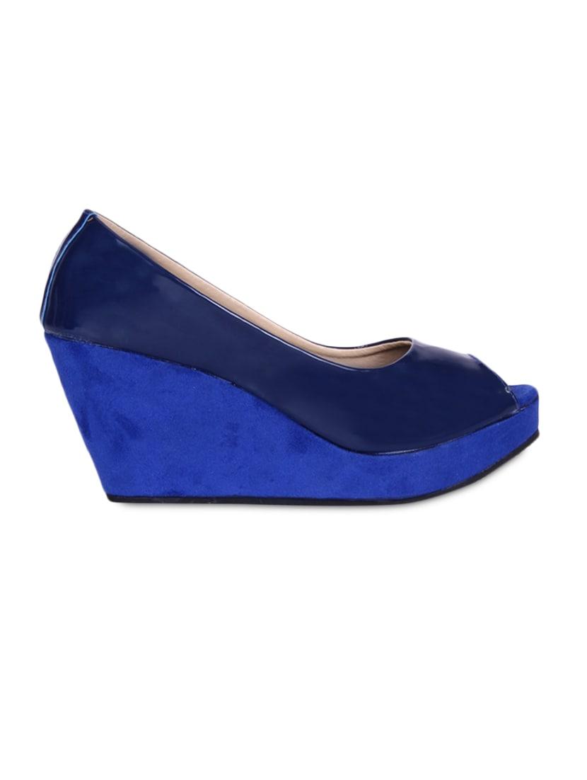 Glossy Blue Peep Toe Wedges - Fleetz