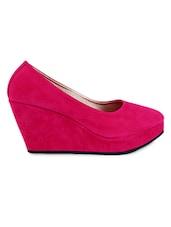 Round Toe Pink Suede Wedges - Fleetz
