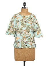 Tropical Printed Bell Sleeve Top - Lemon Chillo