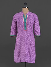 Purple Printed Cotton Kurta - Myra
