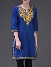 Yellow Leaf Embroidered Blue Cotton Kurti - Lycans