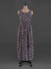 Leopard Print Round Neck Georgette Maxi Dress - G&M Collections