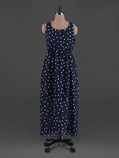 Polka Dot Printed Georgette Maxi Dress - G&M Collections