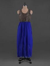Leopard Print Blouse Georgette Maxi Dress - G&M Collections