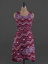 Geometric Print Overlapping Round Neck Crepe Dress - G&M Collections