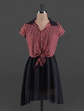 Stripes Printed Short Sleeve Georgette Dress - G&M Collections