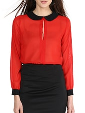 Red Peter Pan Collared Georgette Top - La Zoire