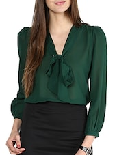 Solid Bottle Green Sheer Front Knot Top - La Zoire