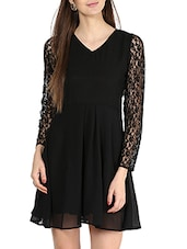 Lacy Full Sleeve V-neck A-line Dress - La Zoire