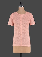 Peach Short Sleeves Cotton Lace Top - Pannkh