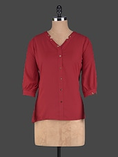Solid Red Polyester Top - Pannkh